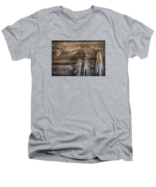 Hole-in-the-wall Cabin At Old Trail Town In Cody In Wyoming Men's V-Neck T-Shirt by Carol M Highsmith