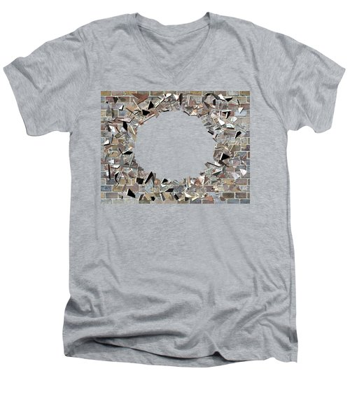 Men's V-Neck T-Shirt featuring the digital art Hole In The Wall - Exploding Wal by Michal Boubin