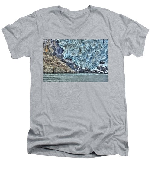 Holgate Glacier Hdr Men's V-Neck T-Shirt by Richard J Cassato