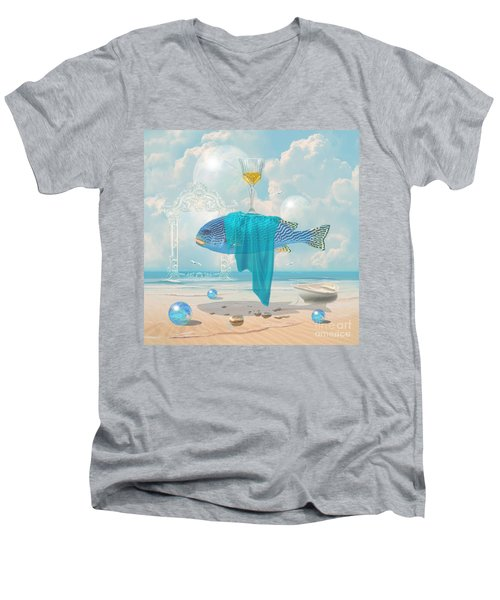 Men's V-Neck T-Shirt featuring the digital art Holiday At The Seaside by Alexa Szlavics