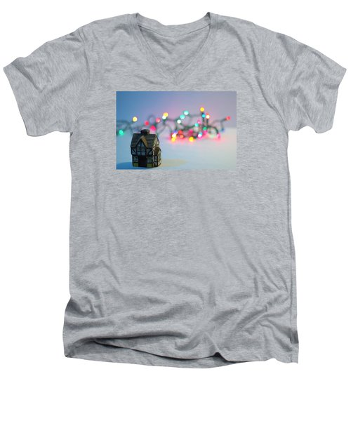 Holiday Lights Men's V-Neck T-Shirt by John Rossman