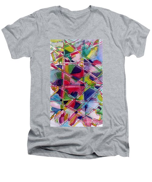 Holiday Rush Men's V-Neck T-Shirt by Jan Bennicoff