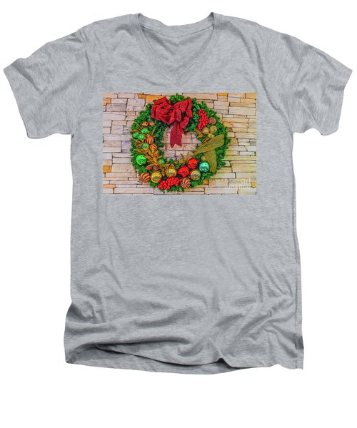 Men's V-Neck T-Shirt featuring the digital art Holiday Wreath by Ray Shiu