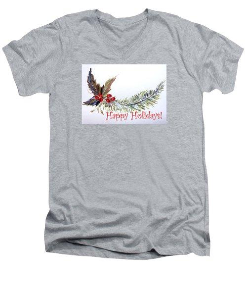 Holidays Card - 2 Men's V-Neck T-Shirt by Dorothy Maier