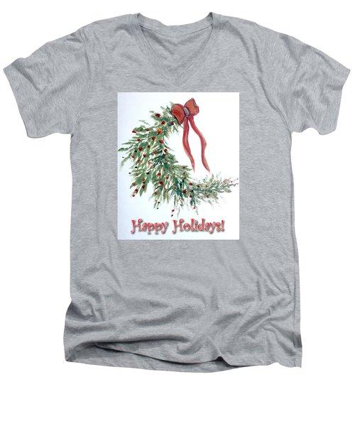 Holidays Card - 4 Men's V-Neck T-Shirt by Dorothy Maier