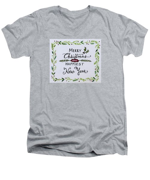 Men's V-Neck T-Shirt featuring the painting Holly Berry Merry Christmas by Elizabeth Robinette Tyndall