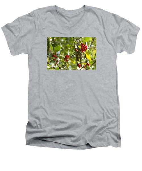 Men's V-Neck T-Shirt featuring the photograph Holly With Berries by Chevy Fleet