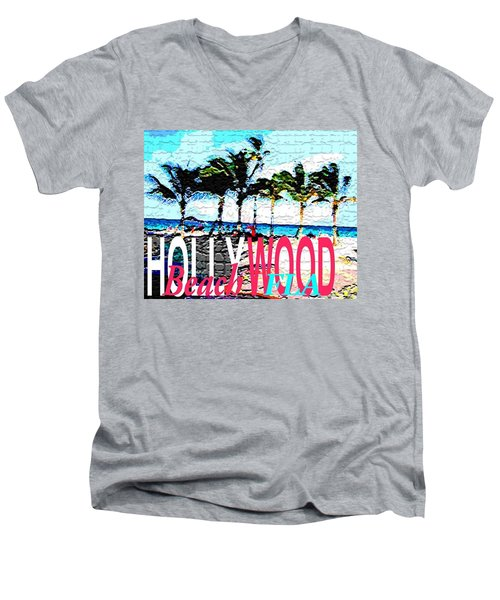 Hollywood Beach Fla Poster Men's V-Neck T-Shirt by Dick Sauer