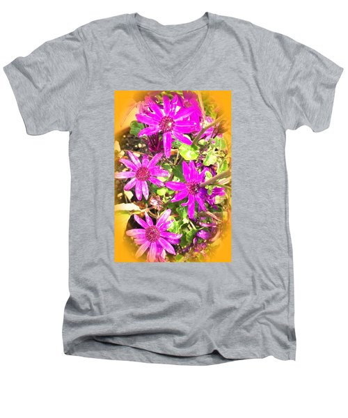 Hollywood Flower Stars Men's V-Neck T-Shirt