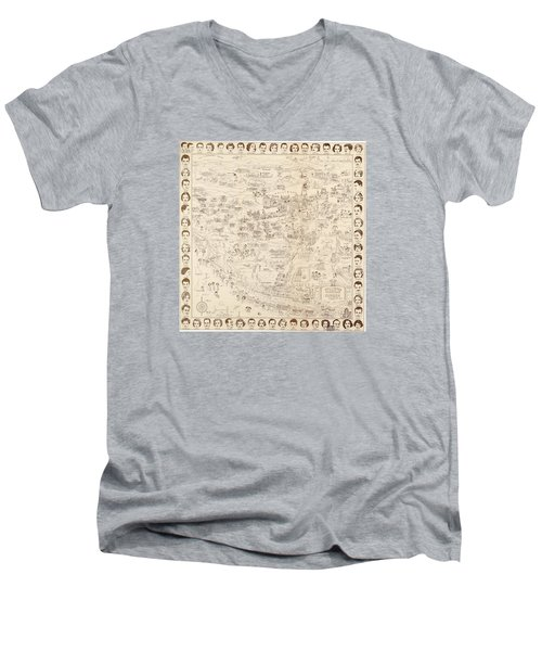 Hollywood Map To The Stars 1937 Men's V-Neck T-Shirt by Don Boggs