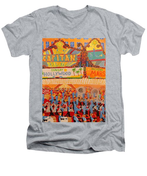 Hollywood Parade Men's V-Neck T-Shirt by Rodger Ellingson