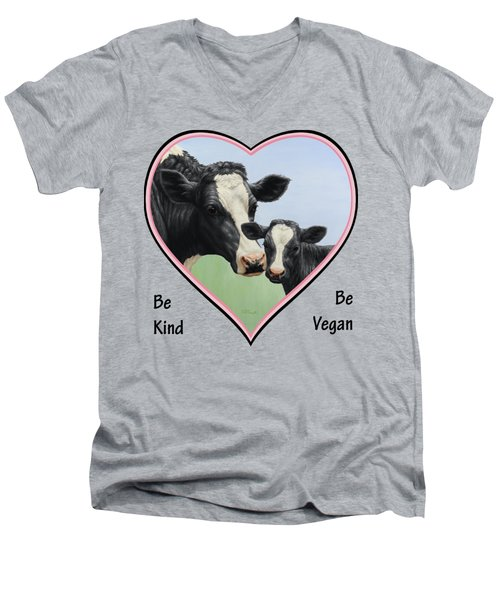 Holstein Cow And Calf Pink Heart Vegan Men's V-Neck T-Shirt by Crista Forest
