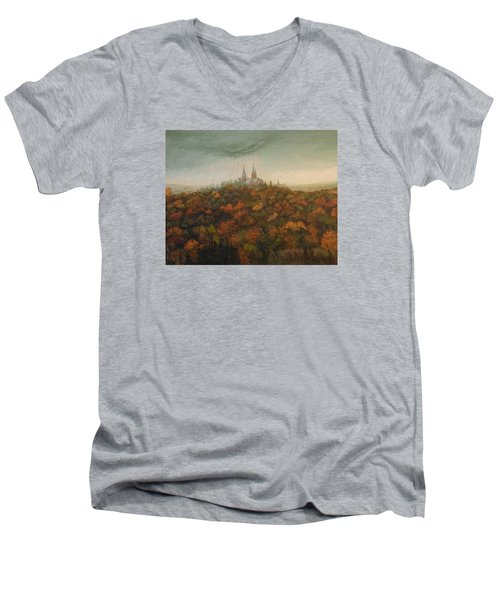 Men's V-Neck T-Shirt featuring the painting Holy Hill Rain Storm by Dan Wagner