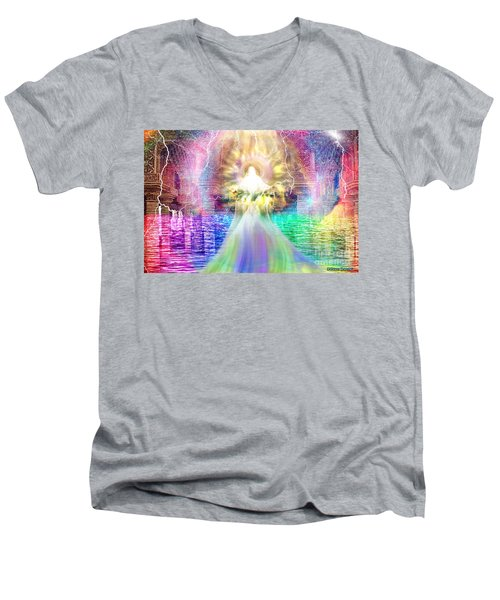 Men's V-Neck T-Shirt featuring the digital art Holy Holy Holy by Dolores Develde