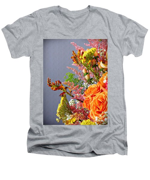 Men's V-Neck T-Shirt featuring the photograph Holy Week Flowers 2017 3 by Sarah Loft