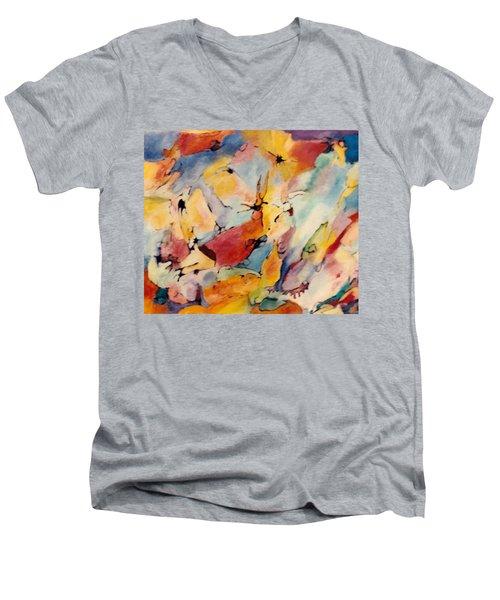Homage A Kandinsky Men's V-Neck T-Shirt by Bernard Goodman
