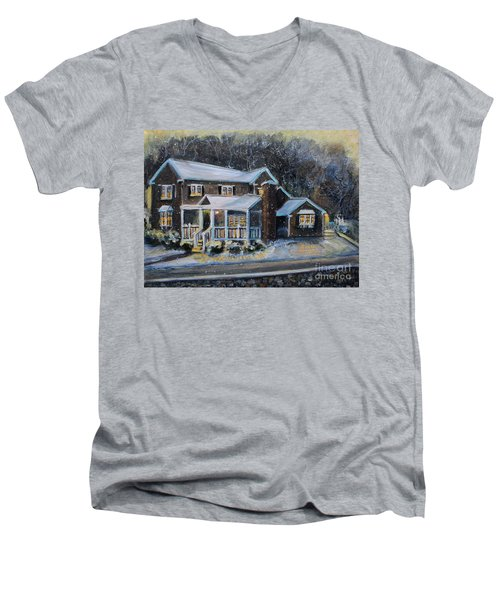 Home On A Snowy Eve Men's V-Neck T-Shirt by Rita Brown