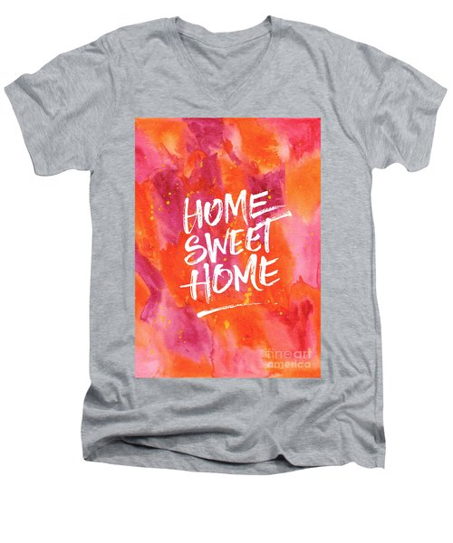 Home Sweet Home Handpainted Abstract Orange Pink Watercolor Men's V-Neck T-Shirt