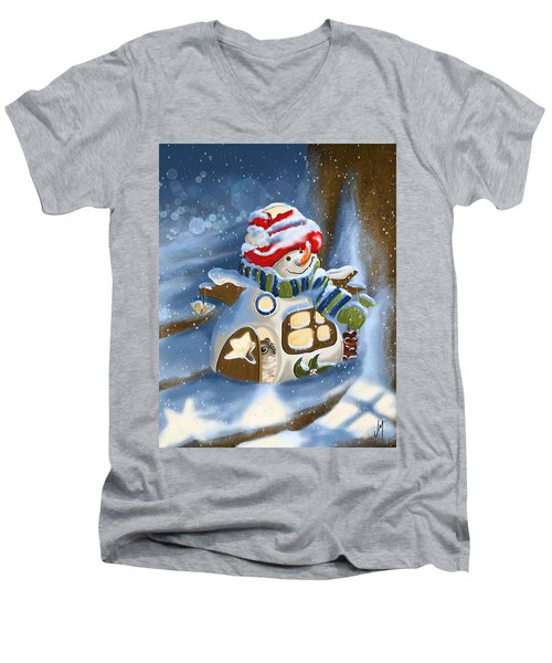 Men's V-Neck T-Shirt featuring the painting Home Sweet Home by Veronica Minozzi