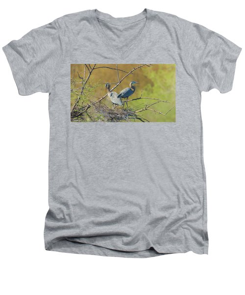 Home Town Blues Men's V-Neck T-Shirt by Kelly Marquardt