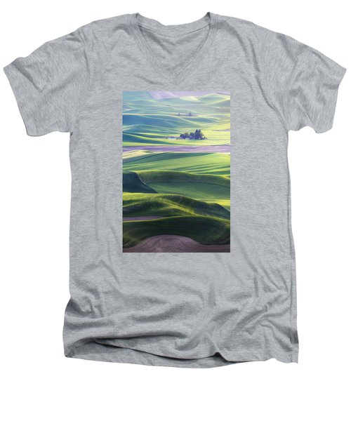 Homestead In The Hills Men's V-Neck T-Shirt by Ryan Manuel