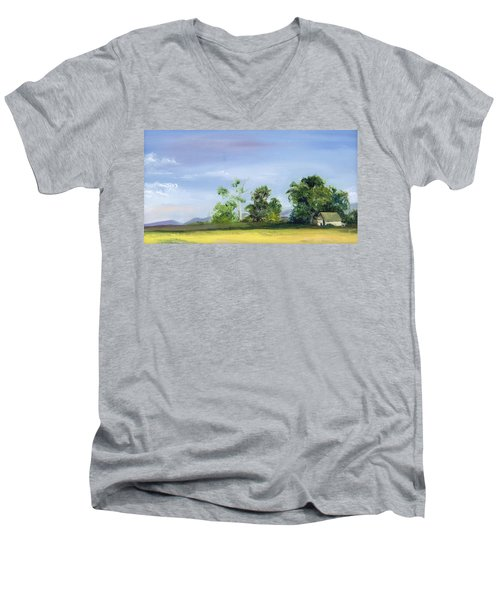 Men's V-Neck T-Shirt featuring the painting Homestead by Jane Autry