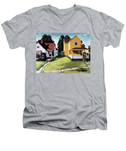 Hometown - Urban Scene Oil Painting Men's V-Neck T-Shirt