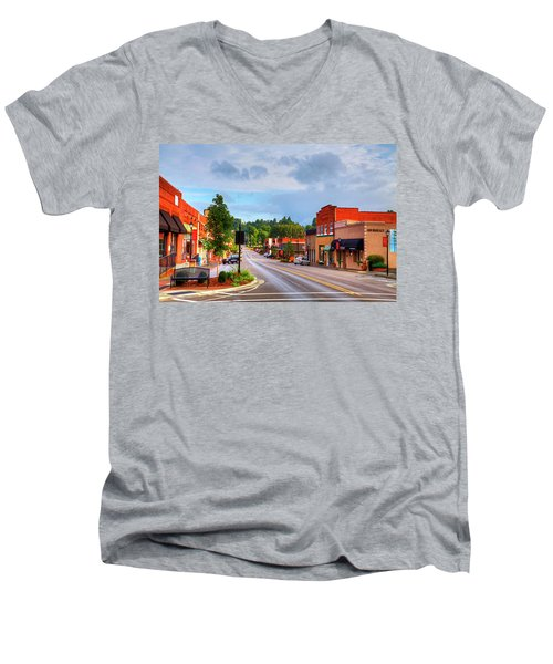 Hometown America Men's V-Neck T-Shirt by Dale R Carlson