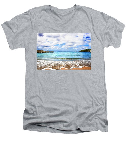 Honduras Beach Men's V-Neck T-Shirt by Marlo Horne
