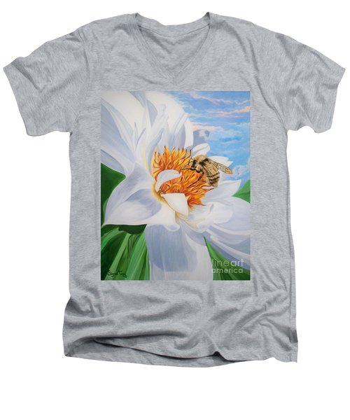 Flygende Lammet Productions     Honey Bee On White Flower Men's V-Neck T-Shirt