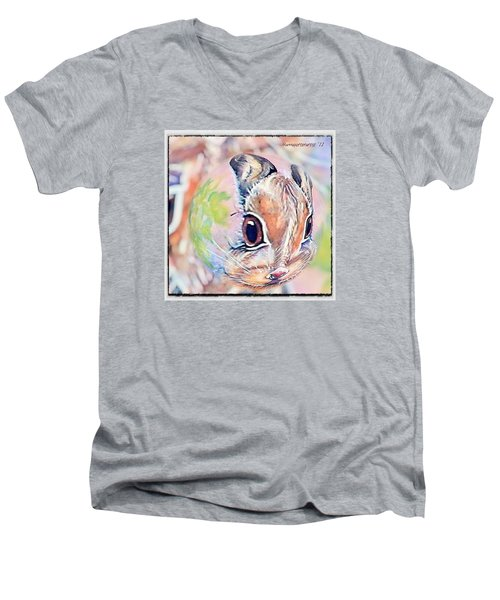 Honey Of A Bunny Men's V-Neck T-Shirt by Anna Porter