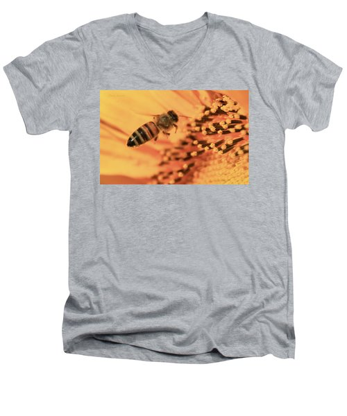 Men's V-Neck T-Shirt featuring the photograph Honeybee And Sunflower by Chris Berry