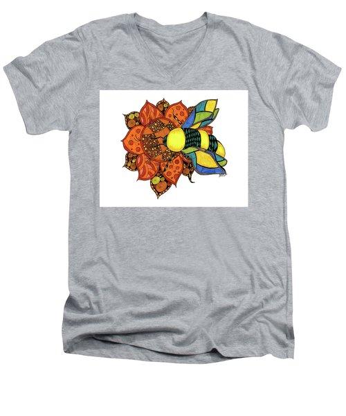 Honeybee On A Flower Men's V-Neck T-Shirt