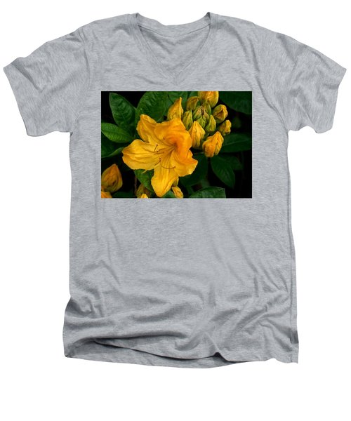 Men's V-Neck T-Shirt featuring the photograph Honeysuckle Azalea by Karen Molenaar Terrell