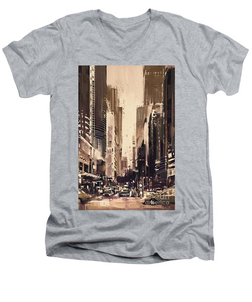 Hong-kong Cityscape Painting Men's V-Neck T-Shirt