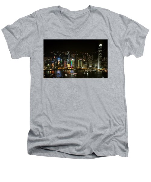 Hong Kong On A December Night Men's V-Neck T-Shirt