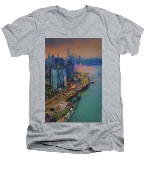 Hong Kong Skyline Painting Men's V-Neck T-Shirt