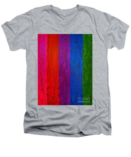 Honor The Rainbow Men's V-Neck T-Shirt by Rachel Hannah