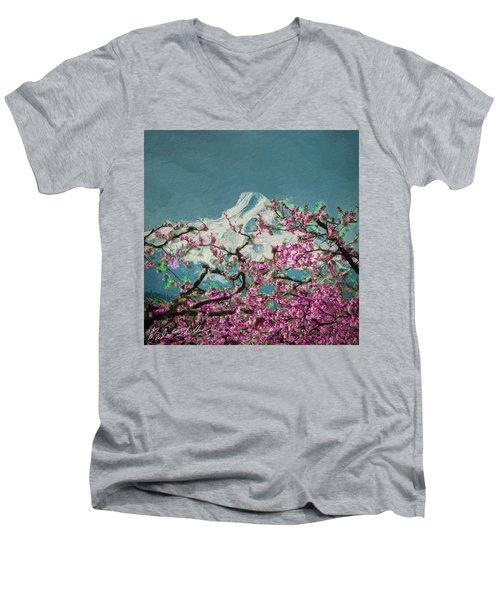 Men's V-Neck T-Shirt featuring the digital art Hood Blossoms by Dale Stillman