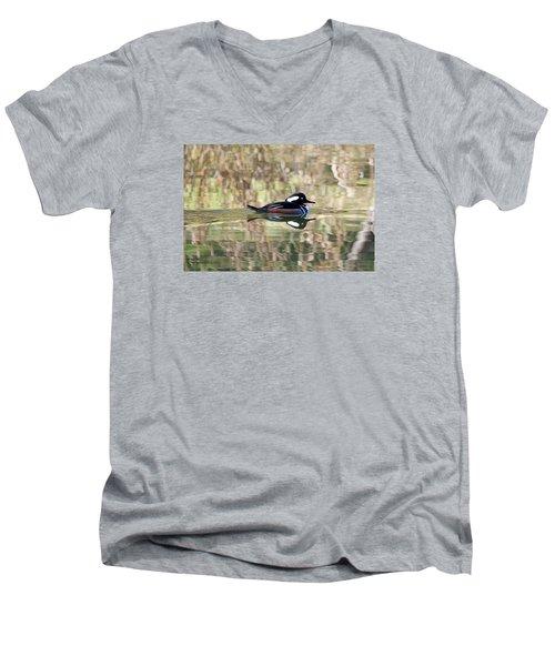 Men's V-Neck T-Shirt featuring the photograph Hooded Merganser by Elizabeth Budd