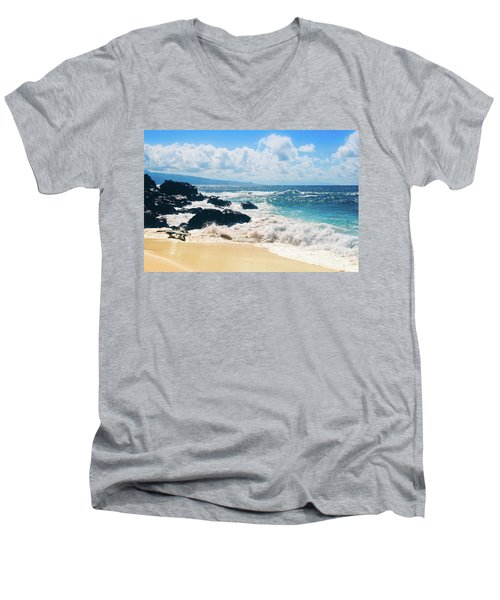 Men's V-Neck T-Shirt featuring the photograph Hookipa Beach Maui Hawaii by Sharon Mau