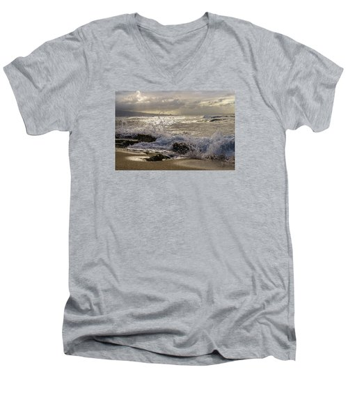 Men's V-Neck T-Shirt featuring the photograph Ho'okipa Beach Maui by Janis Knight