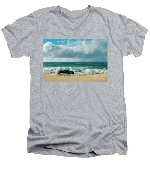 Men's V-Neck T-Shirt featuring the photograph Hookipa Beach Pacific Ocean Waves Maui Hawaii by Sharon Mau