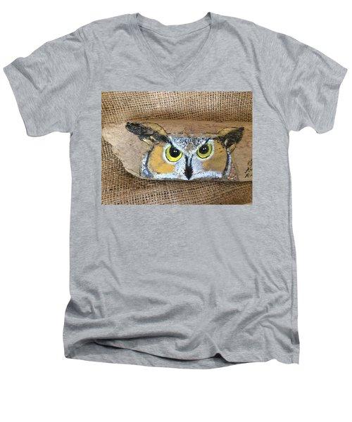 Hoot Owl Men's V-Neck T-Shirt by Ann Michelle Swadener