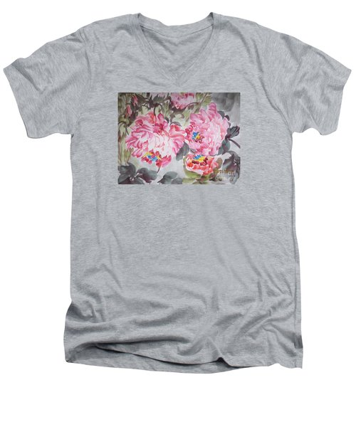 Men's V-Neck T-Shirt featuring the painting Hop08012015-693 by Dongling Sun