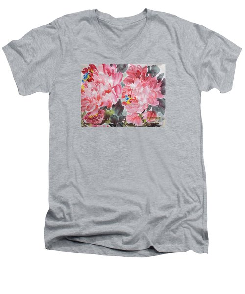 Men's V-Neck T-Shirt featuring the painting Hop08012015-694 by Dongling Sun