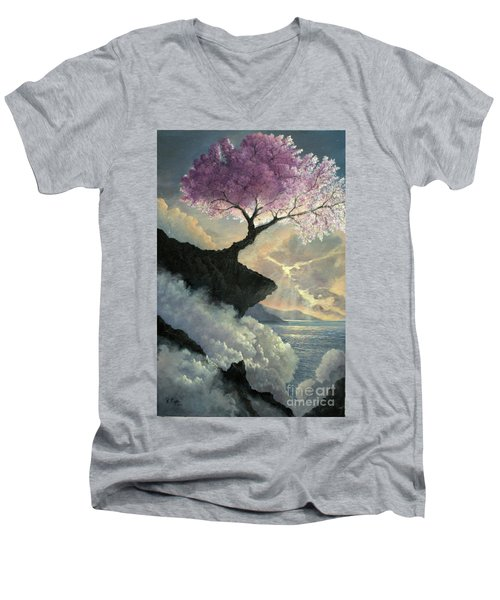 Men's V-Neck T-Shirt featuring the painting Hope Inclines by Rosario Piazza