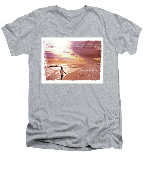 Horizon Of Hope Men's V-Neck T-Shirt by Marie Hicks