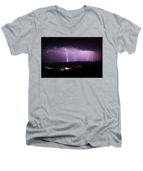 Men's V-Neck T-Shirt featuring the photograph Horizontal And Vertical Lightning by Ron Chilston