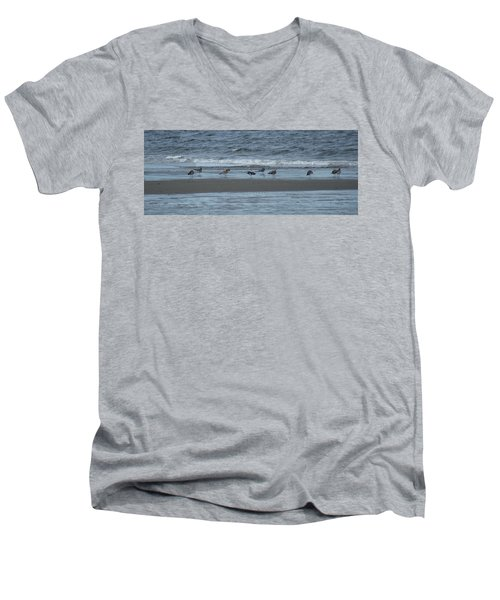 Men's V-Neck T-Shirt featuring the photograph Horizontal Shoreline With Birds by Margie Avellino